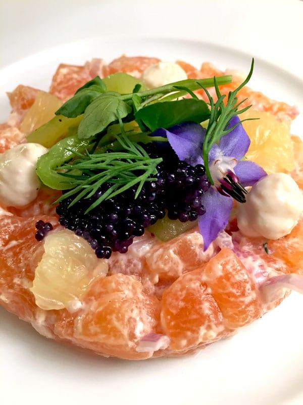 Salmon Carpaccio with Caviar