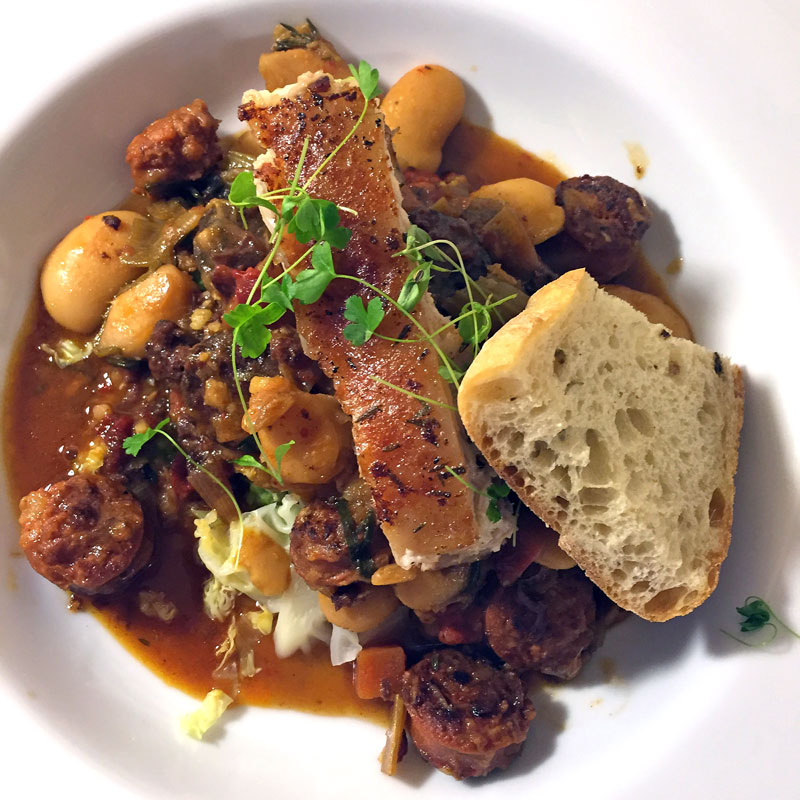 Chorizo & Pork Belly With Butter Beans