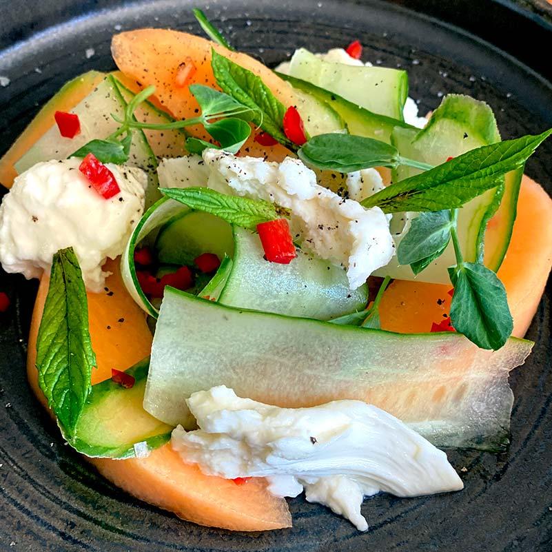 Melon, Cucumber & Mozarella Salad