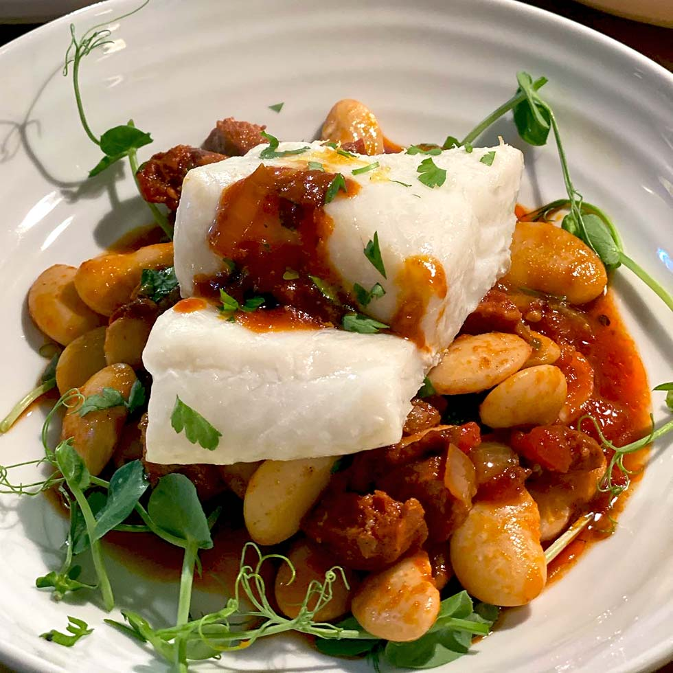 Cod With Butter Beans And Chorizo