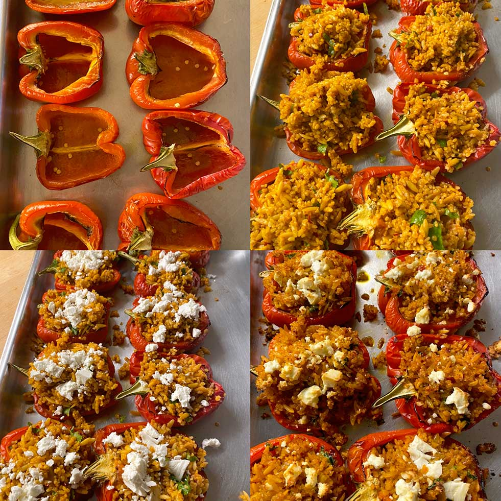 PEPPERS STUFFED WITH SPICED ORZO AND BULGUR WHEAT
