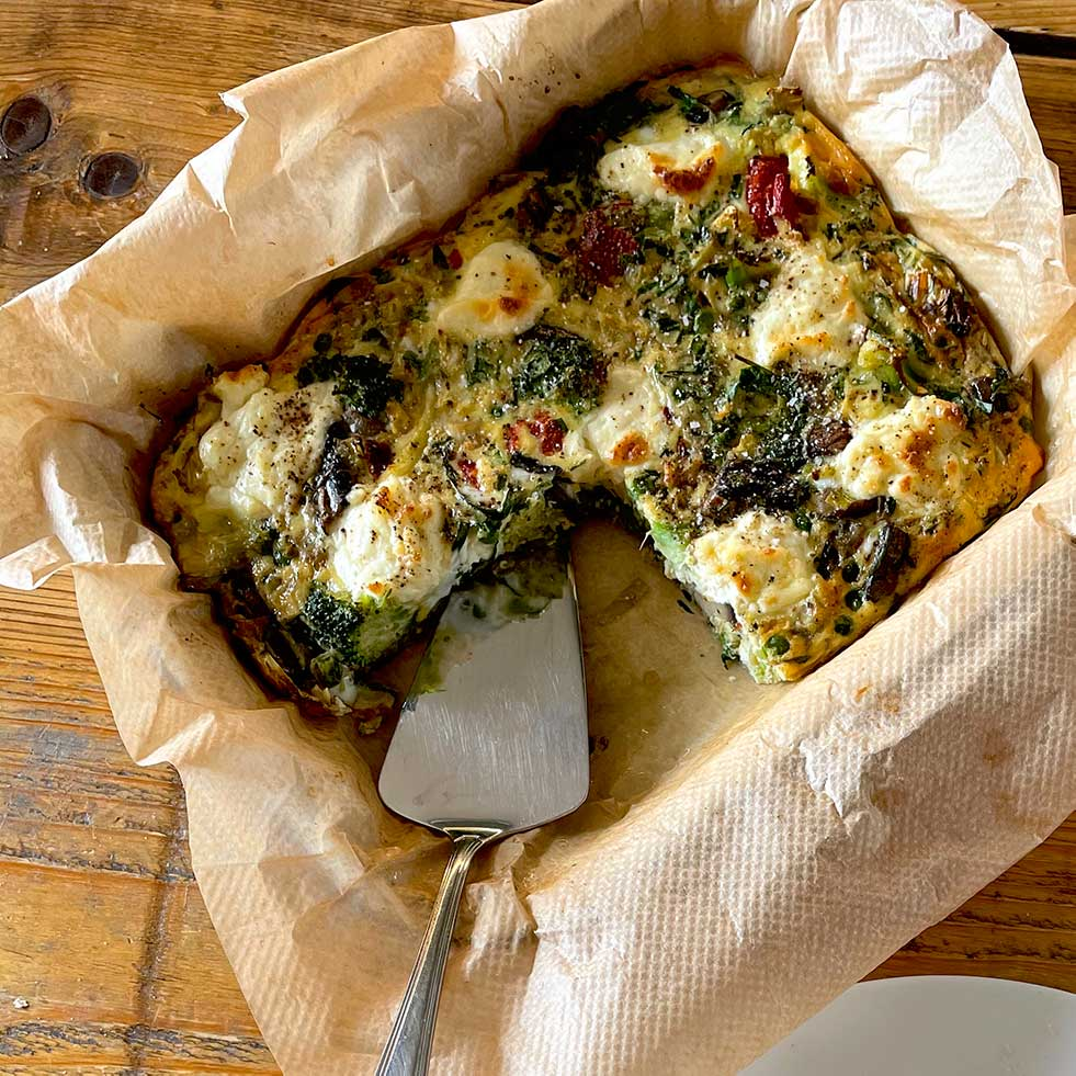 Baked vegetable and herb frittata