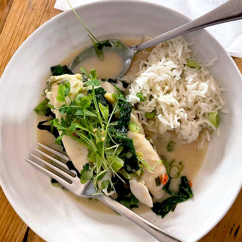 Poached Cod In Thai Green Curry Broth