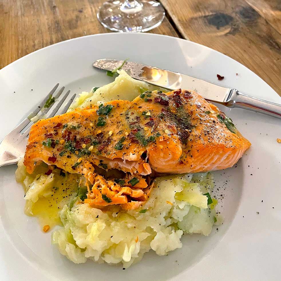 Salmon with chive and lemon butter