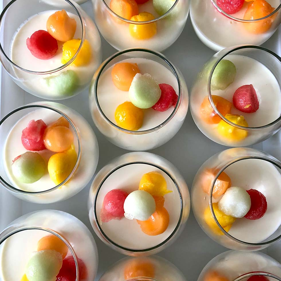 Coconut Bavarois With Tropical Fruit Salad