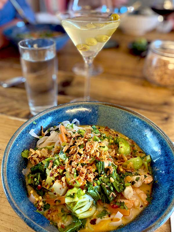 Prawn Khao Soi Served With A Martini