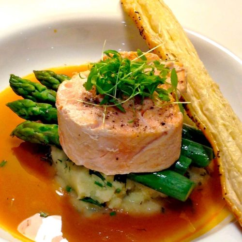 Salmon Medallions With A Prawn Bisque Serving