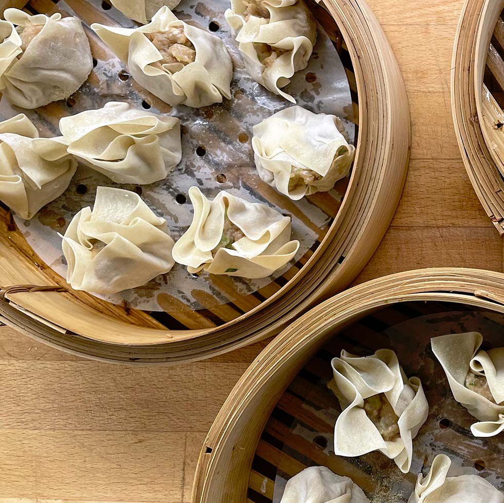 Siu Mai Dumplings In Steamer Baskets