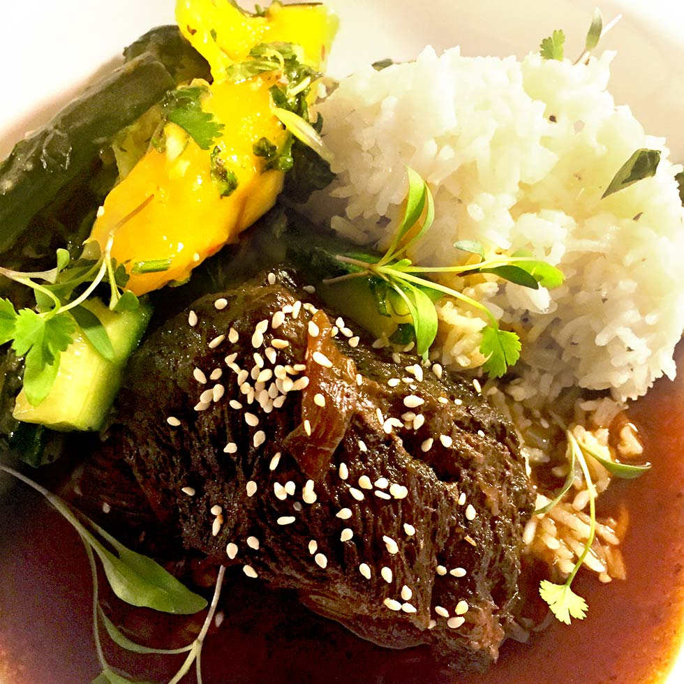 Sweet Soy Beef Cheeks With Cucumber And Herb Salsa