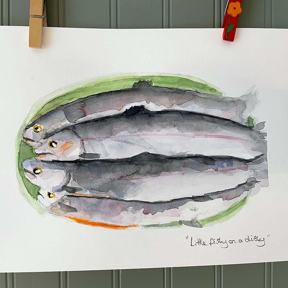 Whole masala fish watercolour painting by Jules Thomas